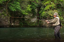 Fishing Guides | Cabin Rentals of Georgia | fly fisherman casting in the river
