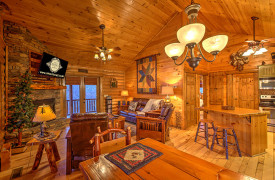 Blue Ridge Lakewalk | Blue Ridge Luxury Cabin Rentals | Cabin Rentals of Georgia | Cozy Open Floor Plan w/ living, dining, and kitchen