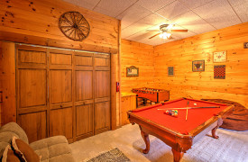 Blue Ridge Lakewalk | Blue Ridge Luxury Cabin Rentals | Cabin Rentals of Georgia | Game Room w/ pool table, foosball, and laundry closet