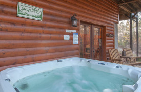 Blue Ridge Lakewalk | Blue Ridge Luxury Cabin Rentals | Cabin Rentals of Georgia | Hot tub off game room