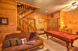 Blue Ridge Lakewalk | Blue Ridge Luxury Cabin Rentals | Cabin Rentals of Georgia | Cozy game room w/ futon and billiards