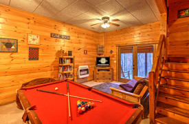 Blue Ridge Lakewalk | Blue Ridge Luxury Cabin Rentals | Cabin Rentals of Georgia | Game Room w/ billiards, TV, futon