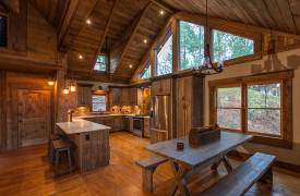 Creekside Bend | Blue Ridge Luxury Cabin Rental | Cabin Rentals of Georgia | Open Kitchen and Dining