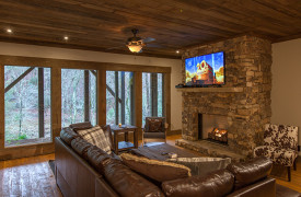Creekside Bend | Blue Ridge Luxury Cabin Rental | Cabin Rentals of Georgia | Terrace Level Living Area
