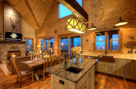 A Rustic Elegant Retreat | Blue Ridge Luxury Cabin Rentals | Cabin Rentals of Georgia | Living, dining, and kitchen perfect for togetherness