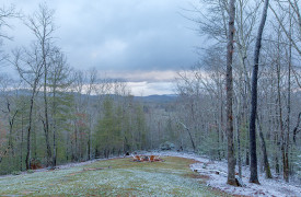 A Rustic Elegant Retreat | Blue Ridge Luxury Cabin Rentals | Cabin Rentals of Georgia | Fire Pit and seating in wintry view