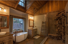 Creekside Bend | Blue Ridge Luxury Cabin Rental | Cabin Rentals of Georgia | Spacious King Ensuite Bath