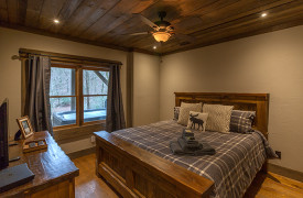 Creekside Bend | Blue Ridge Luxury Cabin Rental | Cabin Rentals of Georgia | Terrace Level King Bedroom