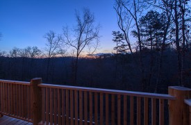 A Mayfly Lodge & Treehouse | Cabin Rentals of Georgia | Gorgeous Sunset off back deck