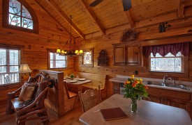 Hiwassee River Sanctuary | Cabin Rentals of Georgia | Built-In Dining Area
