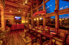 Live Streaming Lodge | Dining with Mountain Views and Canoe Lighting | Cabin Rentals of Georgia