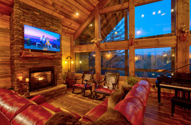 Live Streaming Lodge | Luxe Living Room w/ Mountain Views and Piano | Cabin Rentals of Georgia