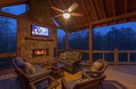 Outdoor Fireplace | Down By The River | Cabin Rentals of Georgia