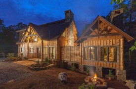 A Mayfly Lodge & Treehouse | Cabin Rentals of Georgia | Fire Pit at dusk