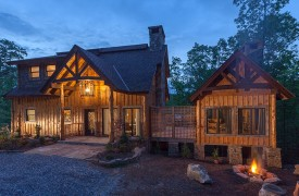 A Mayfly Lodge & Treehouse | Cabin Rentals of Georgia | Exterior Fire Pit at dusk