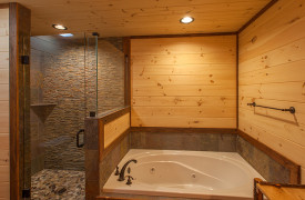 Above the Timberline | Cabin Rentals of Georgia | Main Floor Ensuite Bath