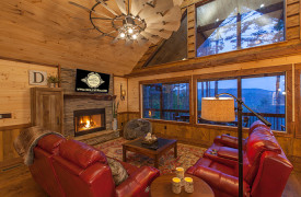 Above the Timberline | Cabin Rentals of Georgia | Living Area Mountain Views