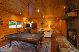 The River's Edge | Cabin Rentals of Georgia | Terrace Level Game Room and Living Area