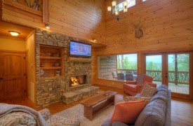 High Hopes | Cabin Rentals of Georgia | Living Area w/ Fireplace and TV