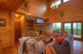 High Hopes | Cabin Rentals of Georgia | Living Area and Fireplace
