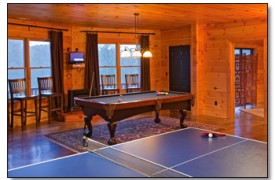 Riverview Lodge | Cabin Rentals of Georgia | Terrace Level Game Room