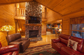Blue Ridge Bliss | Cabin Rentals of Georgia | Living Area w/ Massive Fireplace