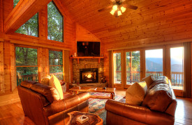 Happy Ours Lodge | Cabin Rentals of Georgia | Living Area with Mountains Views