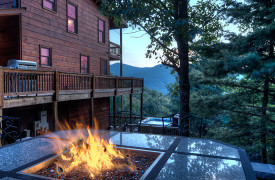 Happy Ours Loge | Cabin Rentals of Georgia | Fire Table for 6
