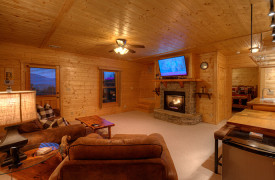 Happy Ours Loge | Cabin Rentals of Georgia | Terrace Level Living Area