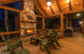 Blue Ridge Lake Sanctuary | Cabin Rentals of Georgia | Outdoor Fireplace
