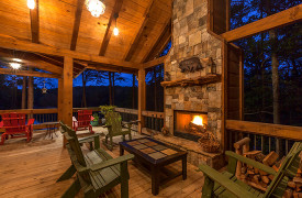 Blue Ridge Lake Sanctuary | Cabin Rentals of Georgia | Outdoor Fireplace and Lake Views