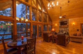 Blue Ridge Lake Sanctuary | Cabin Rentals of Georgia | Beautiful Interiors at Dusk
