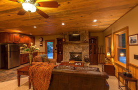 Blue Ridge Lake Sanctuary | Cabin Rentals of Georgia | Terrace Level Living Space with fireplace