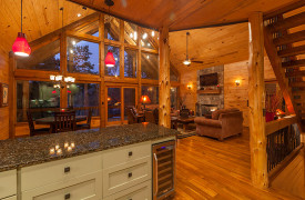 Blue Ridge Lake Sanctuary | Cabin Rentals of Georgia | Views from Kitchen into Living Area