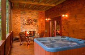 A Rolling River Cabin | Cabin Rentals of Georgia | Hot Tub and Fireplace