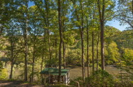 A Mayfly Lodge & Treehouse | Cabin Rentals of Georgia | Community Gazebo Overlooking Toccoa River