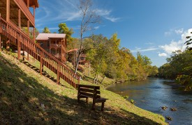 Hiwassee River Run | Cabin Rentals of Georgia | Porch Steps Lead To River