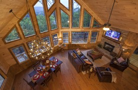 Arcadia | Cabin Rentals of Georgia | Overhead View of Cozy Living Area