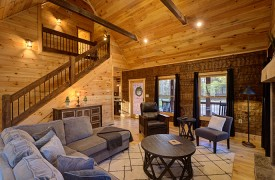 Our True Blue | Blue Ridge Cabin Rentals | Cabin Rentals of Georgia | Cozy Living Area with Large Sectional Sofa