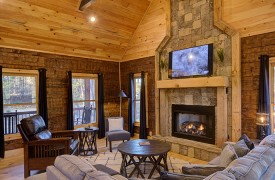 Our True Blue | Blue Ridge Cabin Rentals | Cabin Rentals of Georgia | Living Room w/ TV and Gas Log Fireplace
