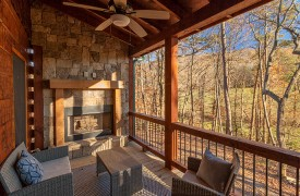 Our True Blue | Blue Ridge Cabin Rentals | Cabin Rentals of Georgia | Main Level deck with Outdoor Fireplace and conversational seating and Views