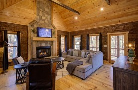 Our True Blue | Blue Ridge Cabin Rentals | Cabin Rentals of Georgia | Living Area w/ Soaring Ceilings, Gas Log Fireplace