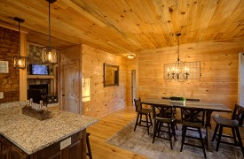 Our True Blue | Blue Ridge Cabin Rentals | Cabin Rentals of Georgia | Dining Table for 6, Breakfast bar for 2