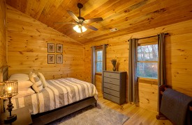 Our True Blue | Blue Ridge Cabin Rentals | Cabin Rentals of Georgia | Cozy Queen bedroom in sleeping loft