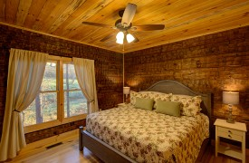 Our True Blue | Blue Ridge Cabin Rentals | Cabin Rentals of Georgia | spacious upstairs King Master with beautiful views