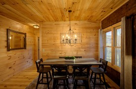 Our True Blue | Blue Ridge Cabin Rentals | Cabin Rentals of Georgia | Picturesque Dining Area w/ High Table and views