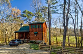 Our True Blue | Blue Ridge Cabin Rentals | Cabin Rentals of Georgia | Front Exterior w/ Pastoral Mountain Views