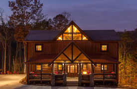 The Great Getaway | Cabin Rentals of Georgia | Exterior Front Dusk