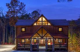 The Great Getaway | Cabin Rentals of Georgia | Exterior Front Sunrise