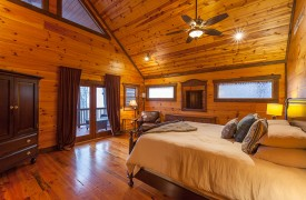 The River's Edge | Cabin Rentals of Georgia | Upstairs King Master Suite Overlooking Toccoa River